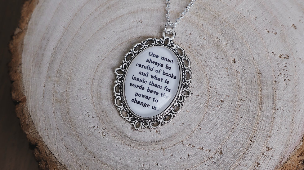 """One must always be careful of books..."" The Infernal Devices Inspired Necklace"