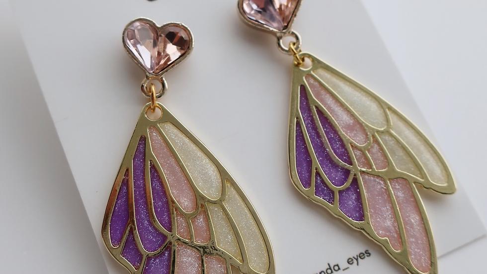 Fairy Wing Glittered Drop Earrings
