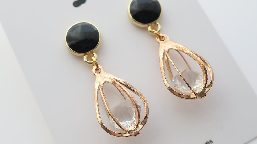 Prism - Caged Stone Drop Earrings
