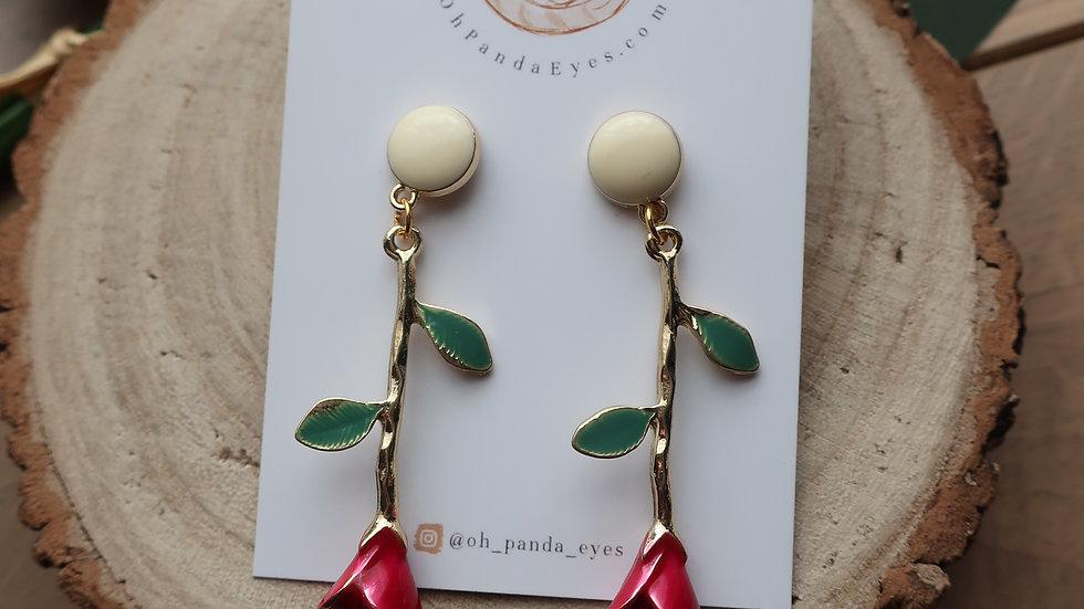 'Belle' Red Rose Drop Earrings - Cream Coloured Studs
