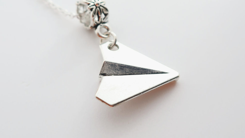 Gift Boxed - Origami Paper Plane Charm Necklace - Sterling Silver Chain