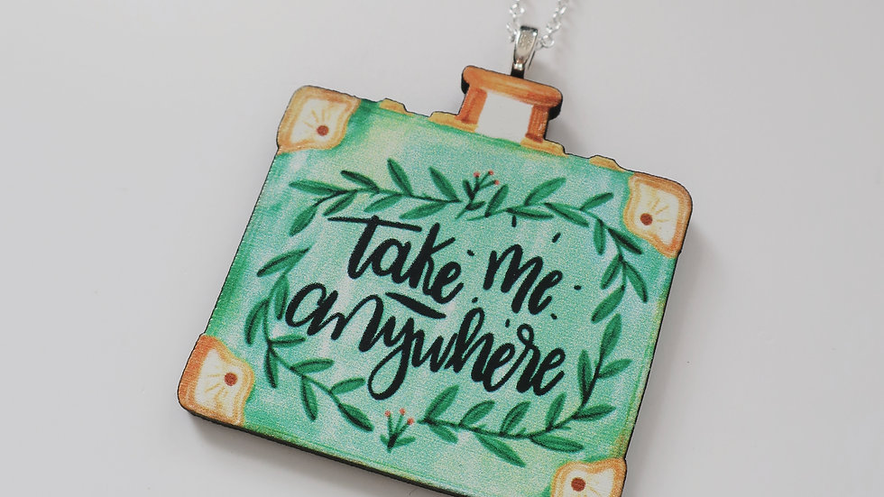 """Take Me Anywhere"" Wooden Painted Charm Necklace - Sterling Silver Chain"