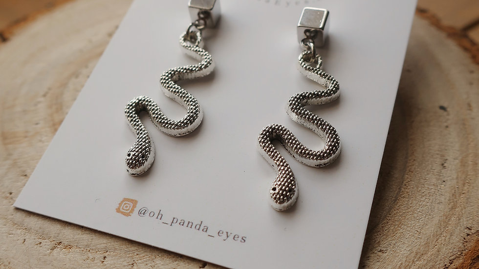 'Medusa' Snake Drop Earrings - Square Stud