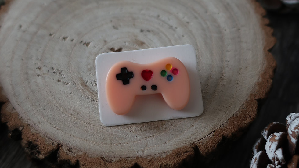 Gift Boxed - Kawaii Games Console Controller Pin Badge  - Peach