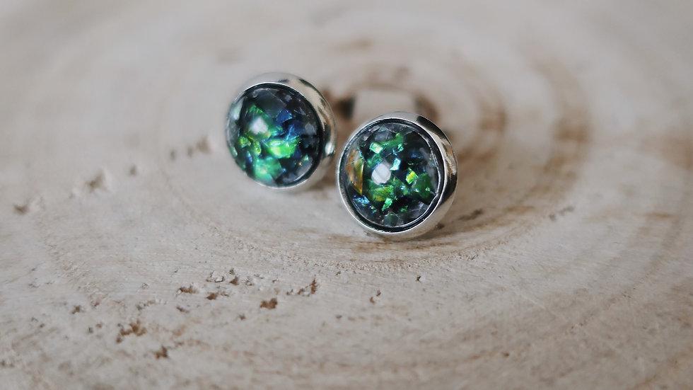Gift Boxed - Black Green Iridescent Mini Stud Earrings  - Costume Jewellery
