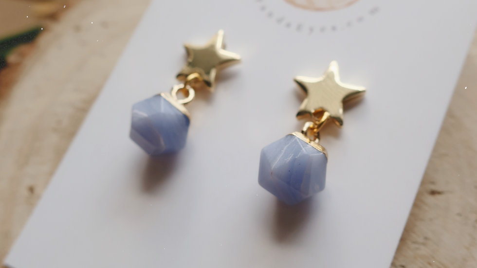 Marble Drop Earrings - Gold Star Studs