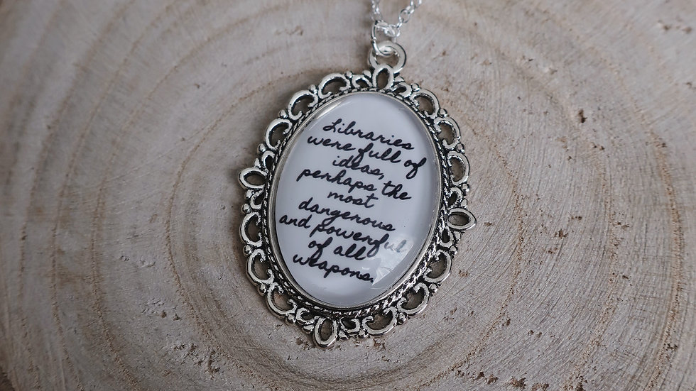 """Libraries were full of ideas..."" Throne of Glass Book Inspired Necklace"