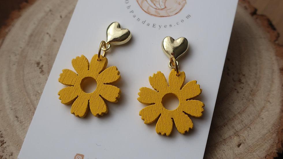 'Buttercup' Wooden Drop Earrings - Gold Heart Studs