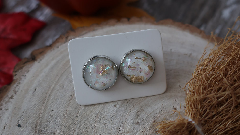 Gift Boxed - White Gold Iridescent  Stud Earrings  - Costume Jewellery
