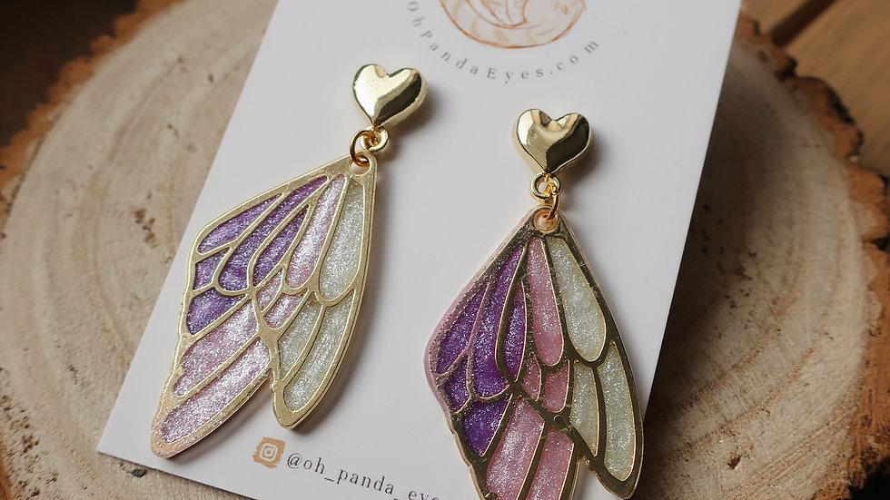 Glittered Fairy Wing - Gold Heart Stud Drop Earrings