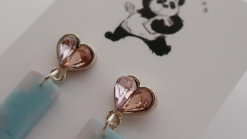 Pink Haze Drop Earrings - Gold Plated Stud
