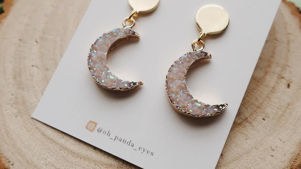 Crystal Crescent Moon Stud Earrings - Gold Circle Stud