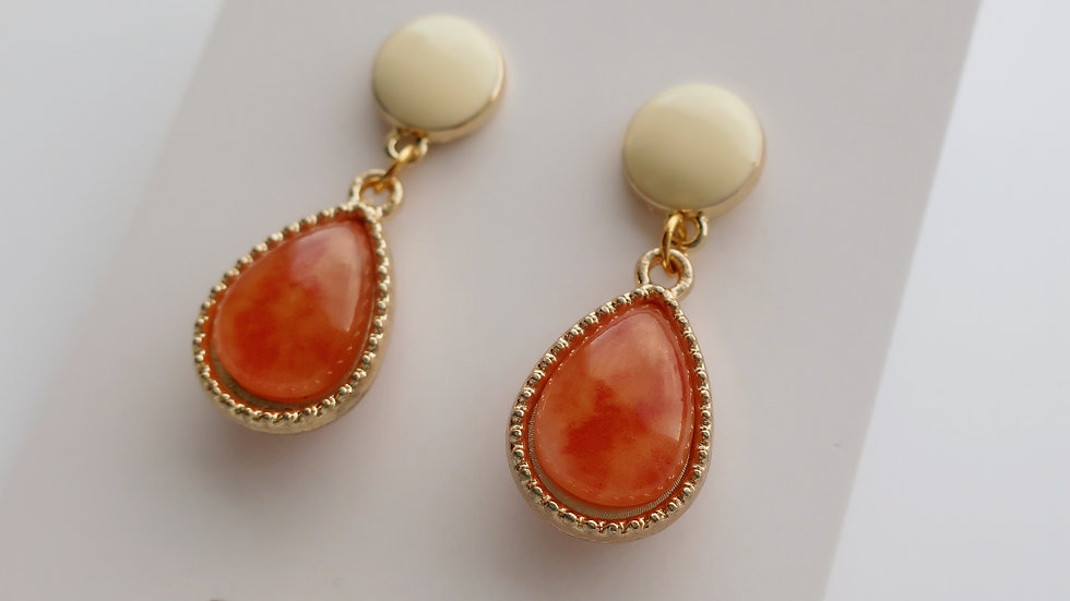 Orange Swirl Dragon Egg  Drop Earrings