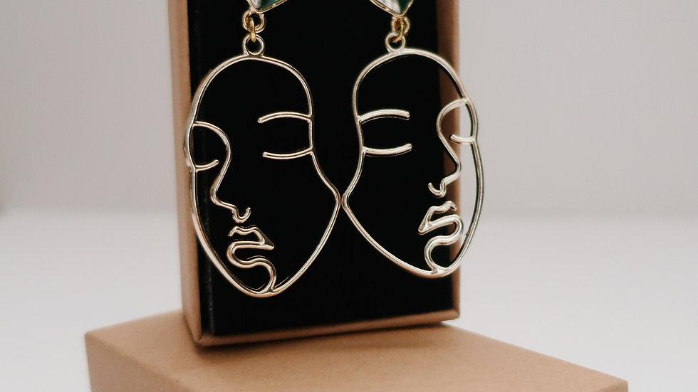 'Luck' - White & Green Heart Base Drop Earrings