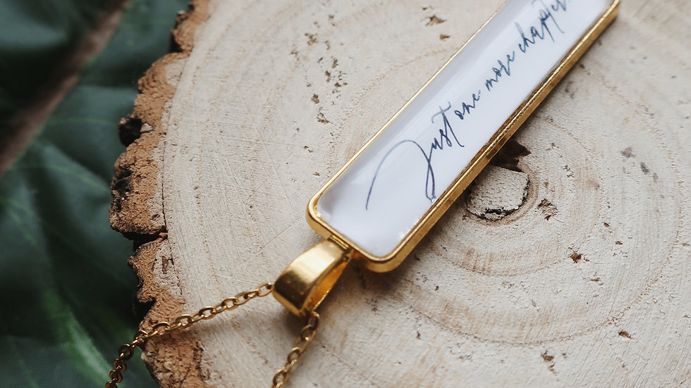 'Just One More Chapter' Quote Pendant Necklace - Gold Plated Chain