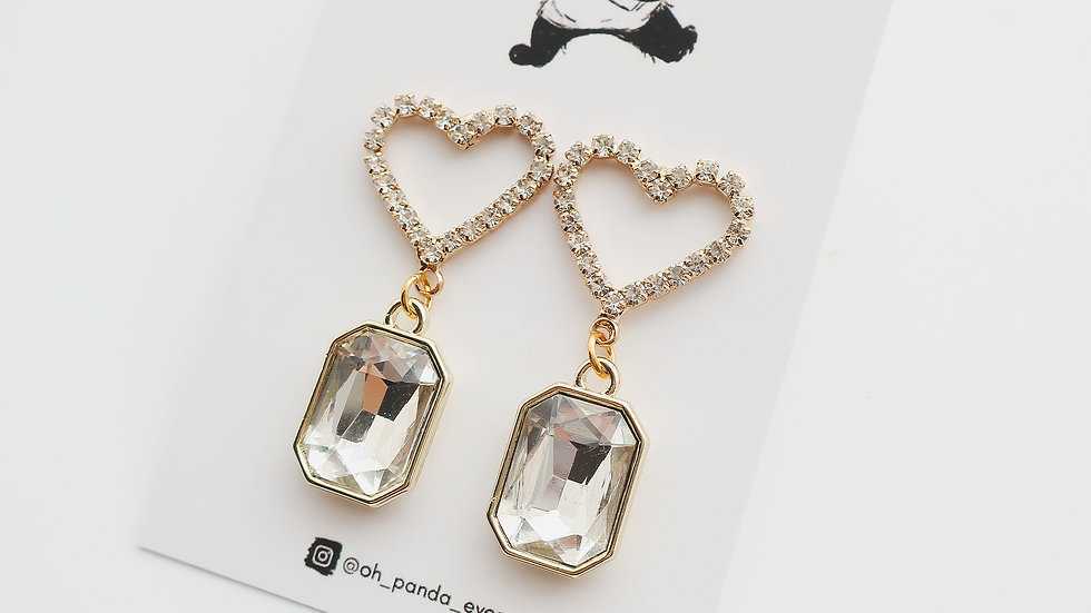 'The Heart' Crystal Drop Earrings