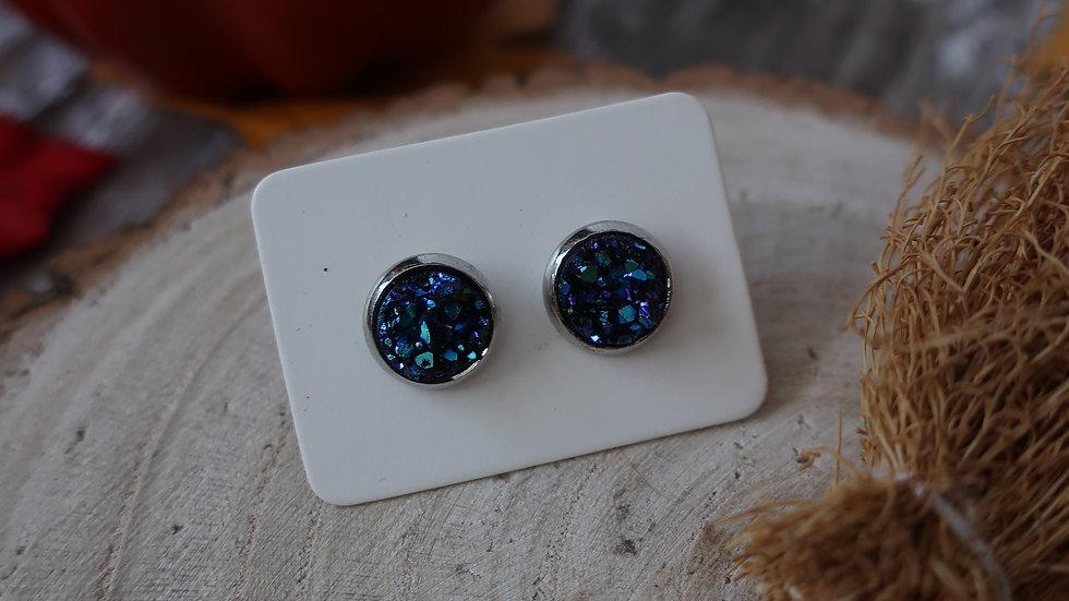 Gift Boxed - Blue Crystal Mini Glitter Stud Earrings  - Costume Jewellery