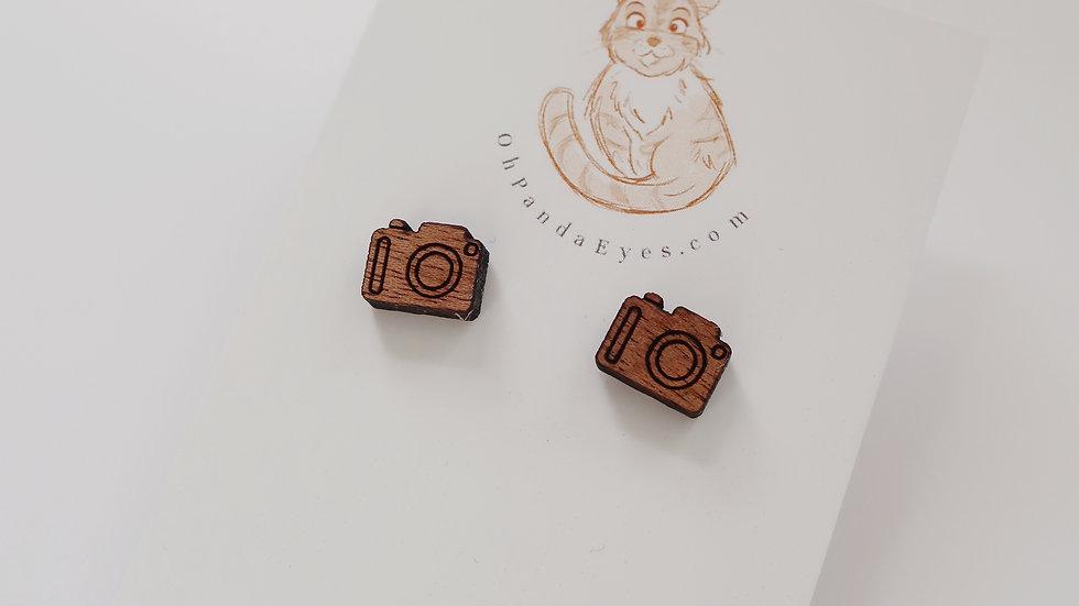 Wooden Camera Stud Earrings - Painted or Wood Effect