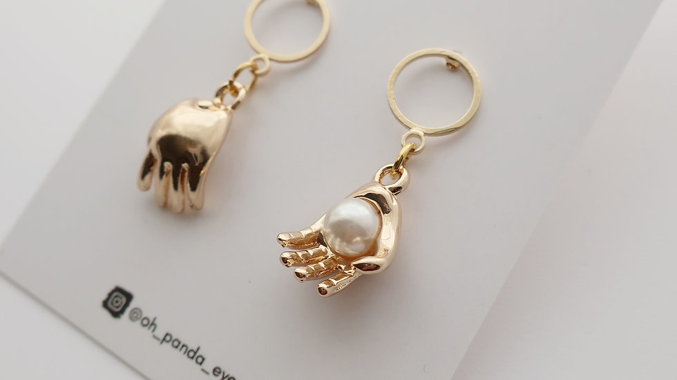 'The World Is In Your Hands' Gold Colour - Pearl - Palm Drop Earrings