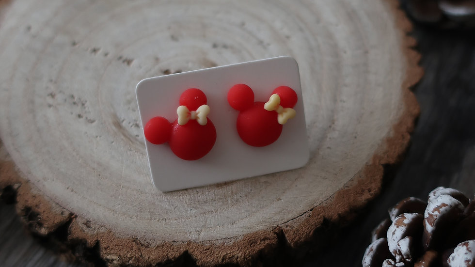 Gift Boxed -  Minnie Mouse Red Yellow Ribbon Earrings  - Costume Jewellery