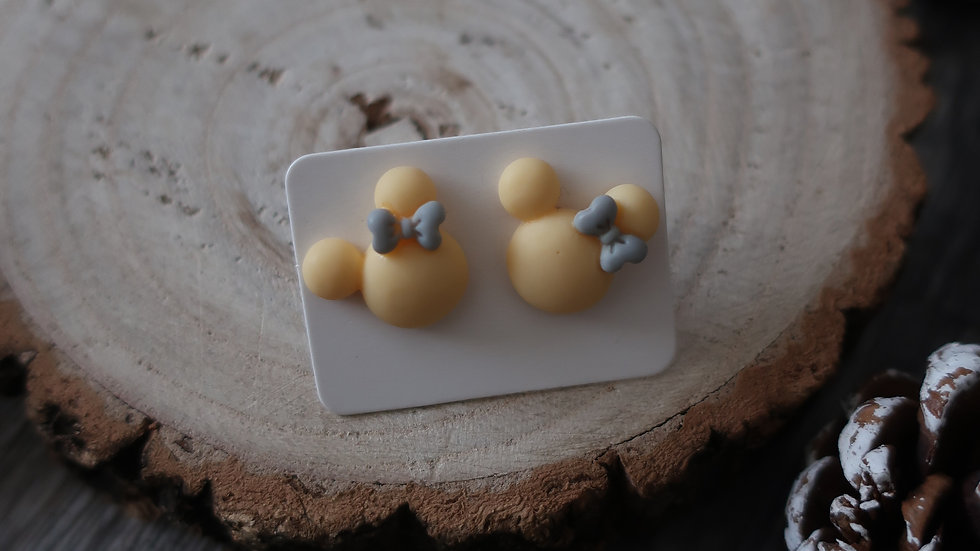 Gift Boxed -  Minnie Mouse Pale Yellow Grey Ribbon Earrings  - Costume Jewellery