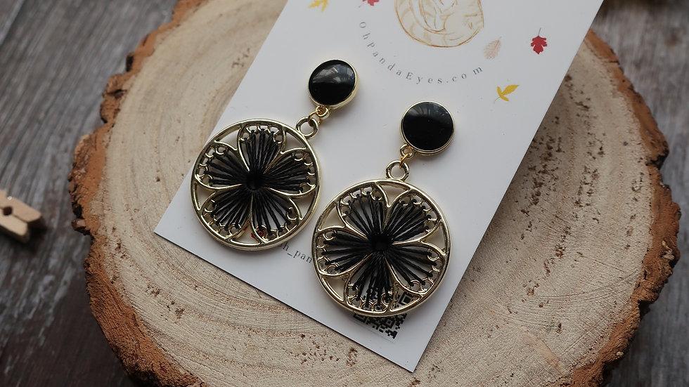 'Black Cosmos' - Threaded Black Floral Drop Earrings