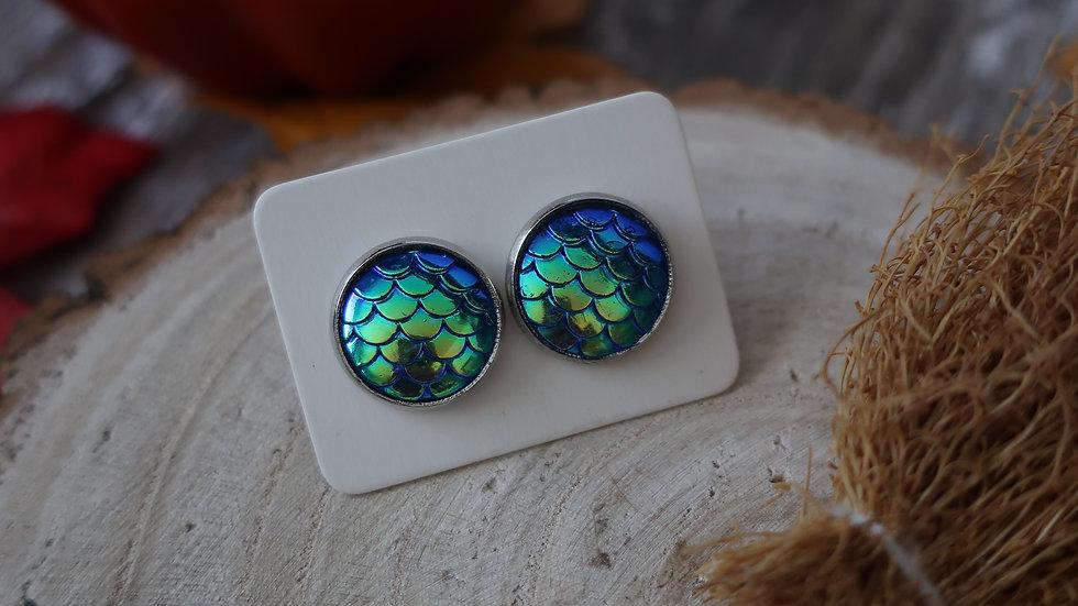 Gift Boxed - Blue Green Mermaid Dragon Stud Earrings  - Costume Jewellery