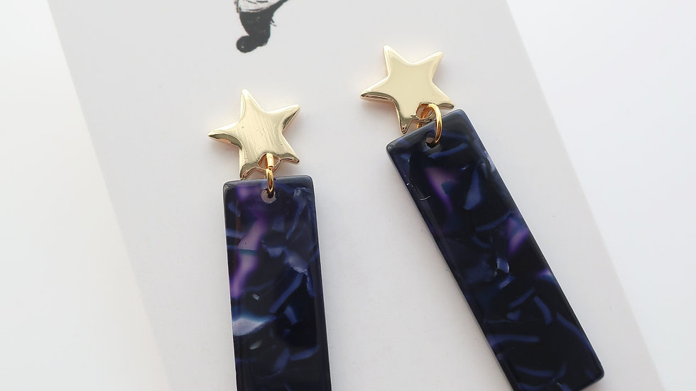 Midnight Moon Drop Earrings - Gold Plated Star Stud
