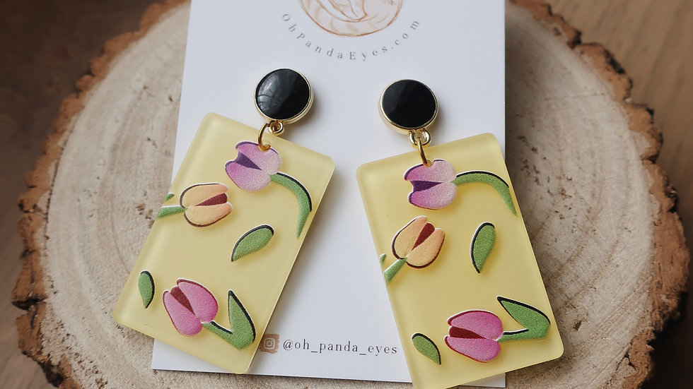 'The Tulips' Lightweight Floral Statement Drop Earrings - Black Pearlescent Stud