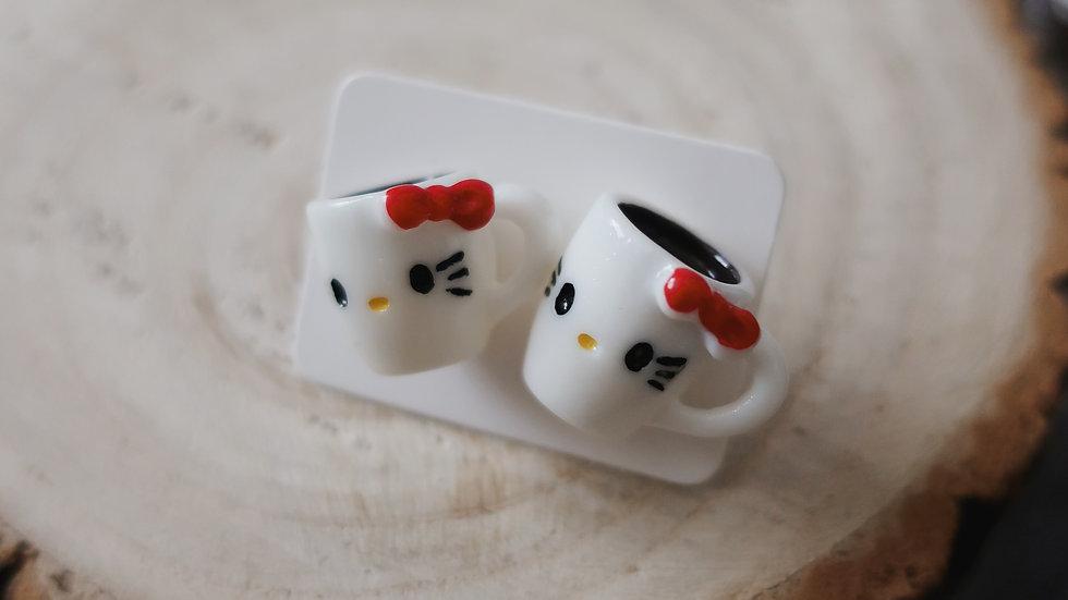 Gift Boxed - Hello Kitty Hot Chocolate Mug Stud Earrings - Costume Jewellery