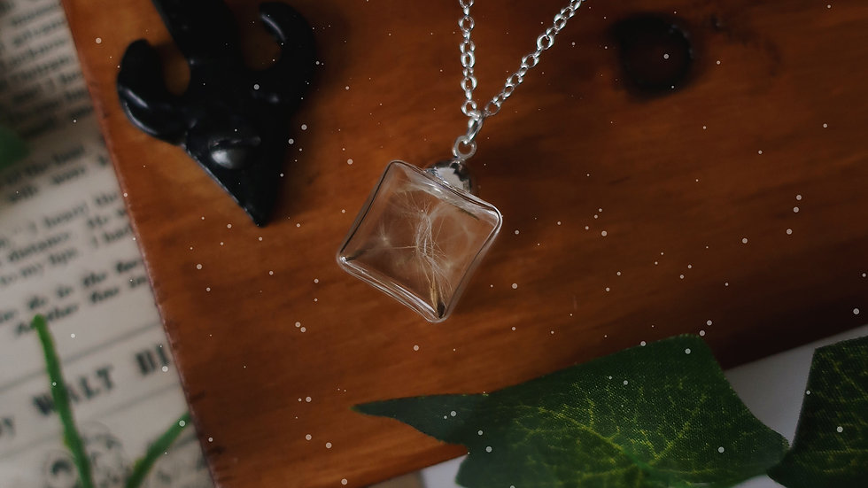 Square Vial Wisp Necklace - Sterling Silver Chain - Gift Box