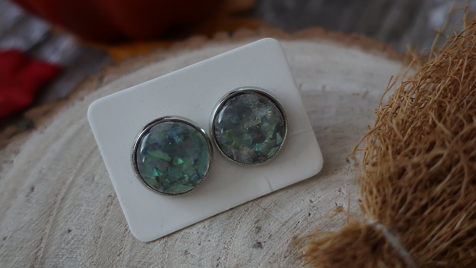 Gift Boxed -  Marble Grey Mint Iridescent Stud Earrings  - Costume Jewellery