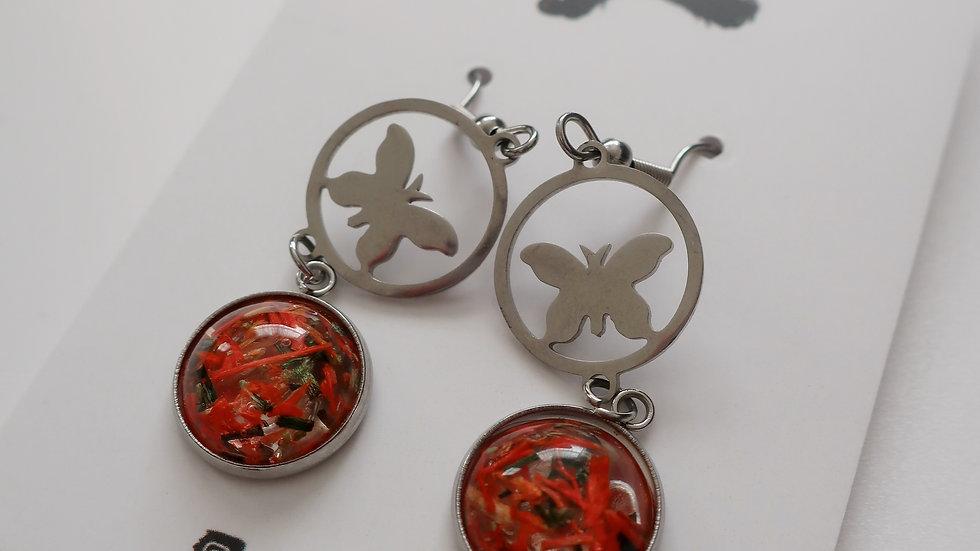 The Bone Season Inspired Moth Drop Earrings - Poppy Petals Resin