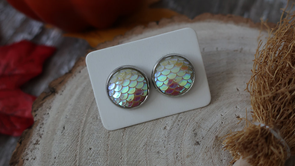 Gift Boxed - White Pearlescent Mermaid Dragon Stud Earrings  - Costume Jewellery