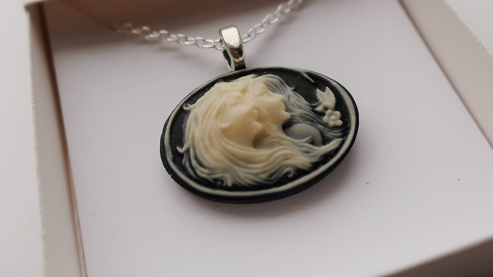 Gift Boxed -   Ethereal Cameo Necklace - Sterling Silver Chain