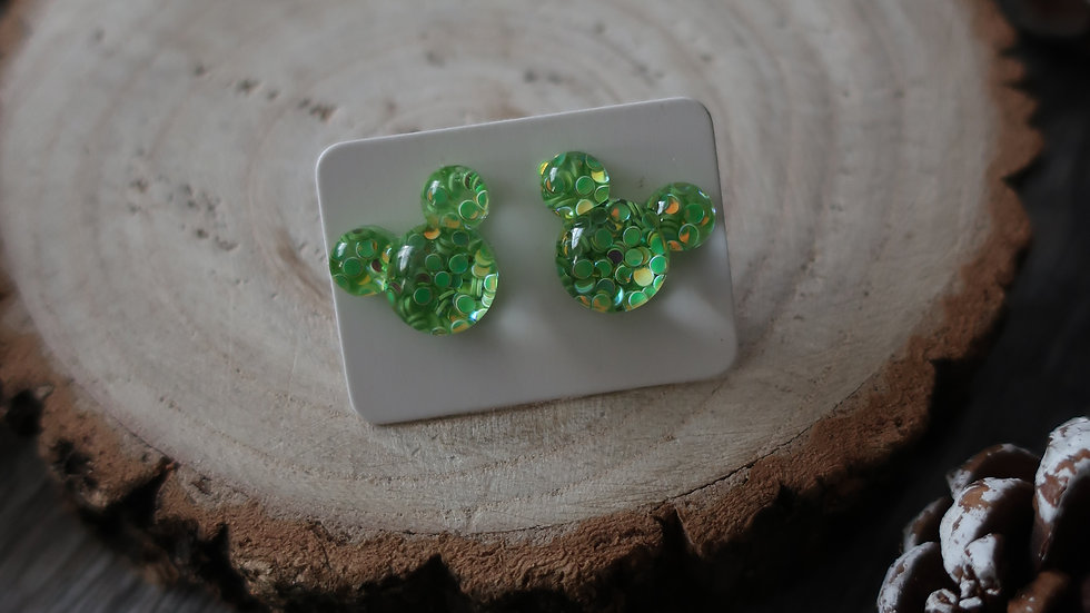 Gift Boxed -  Mickey Mouse Green Glitter  Earrings  - Costume Jewellery
