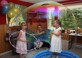 Going inside bubbles during a science show