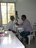 Eye exam at Rishi Valley Health Center