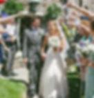 Mr & Mrs Adlem covered in confetti