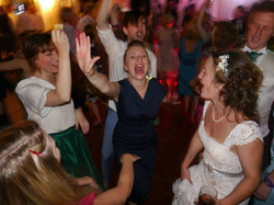 The bride and her guests sing along