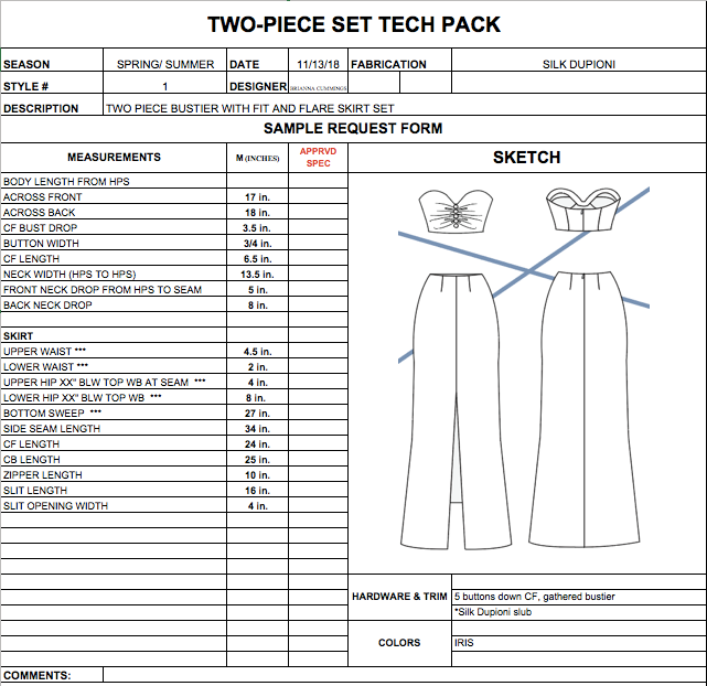 Style #1: Two-Piece Set Tech Pack