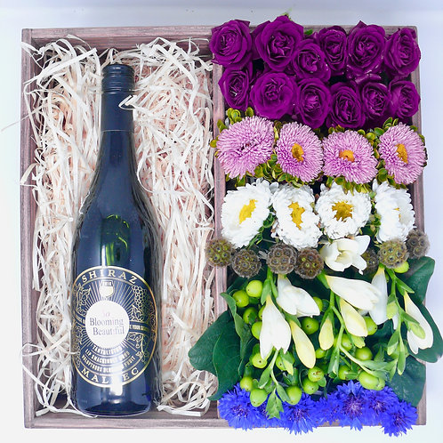 Large Bento Box Wine and Flowers