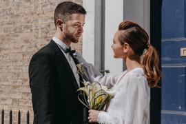 Modern wedding couple