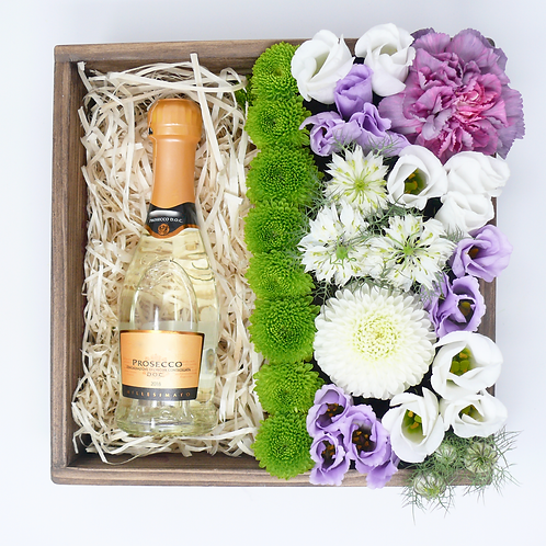 Medium Bento Box of Flowers and Bottle of Fizz