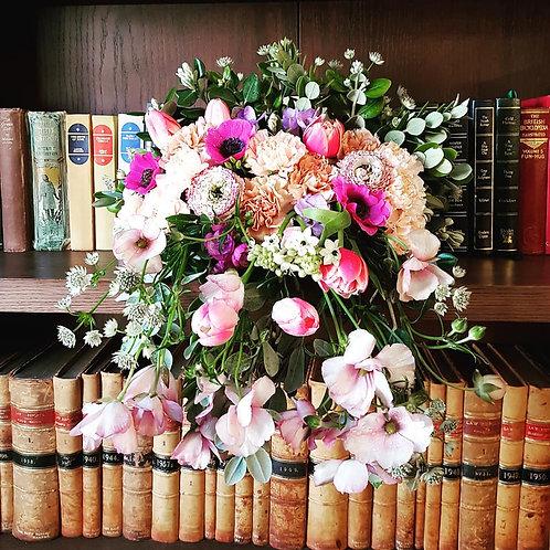 Cascade seasonal flower arrangement
