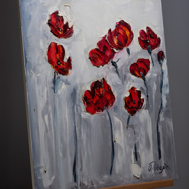 Poppies on Grey