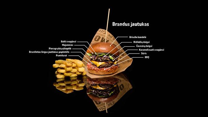 Maisto fotografas, burgeris, bulvytės, maistas juodame fone