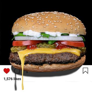 Fotomanipuliacija, burgerio fotomontažas, instagram