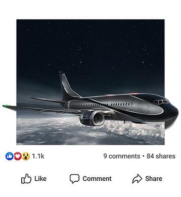 Fotomanipuliacija, fotomontažas, lėktuvas, instagram postas