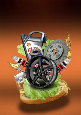Fotomanipuliacija, fotomontažas, produkto fotomanipuliacija, automobilio detalių burgeris, levitacija